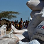 Sacks of grain wait, piled, to be distributed as food aid in Kerio village. The United States Agency for International Development (USAID) distributed $133,723,000 in food aid to Kenya in 2009 through the Food for Peace Act. (Deanna Del Ciello)