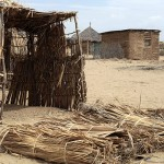 The building material and square shape of this hut in Loreng'elup makes it untraditional, Turkana, Kenya, Jan. 15, 2013. The mud is made from a clay and water mixture that adds more stability to the structure than the more traditional reed buildings. (Rebecca Anzel)