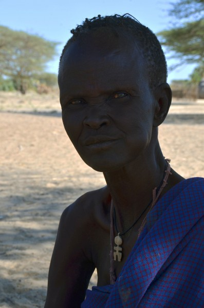 Ana Mana, a widow in the village of Eliye Springs, remembers the severe 1980 drought that killed goats, livestock and people, Turkana, Kenya, Jan. 13, 2013. (Deanna Del Ciello).