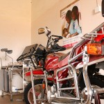 A motorcycle and parturition chair donated by a local research facility, the Turkana Basin Institute, sits unused in a corner of the maternity clinic near Loreng'elup, Turkana, Kenya, Jan 15, 2013. The institute built the clinic in 2012 to serve the local community but for many Turkana women the clinic has remained a last resort. (Khloe Meitz)