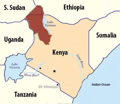 Turkana, shown here in red, is a region in the northwest of Kenya.