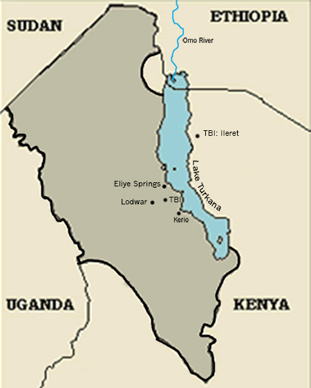 Locations central to the Journalism Without Walls reporting: The Turkana Basin institute (TBI), Kerio, Lodwar, the nearest provincial town, and Eliye Springs, a fishing village. Also the location of TBI's Ileret campus and Ethiopia's Omo River.