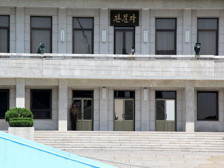 The soldier in front of building symbolizes North Korea is alway watching South Korea.Photo by Kyle Barr.